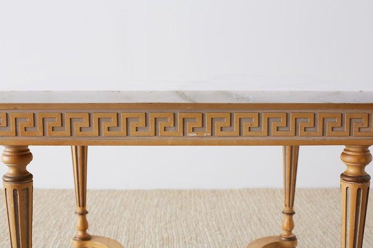 Wood Italian Neoclassical Carrara Marble-Top Table For Sale