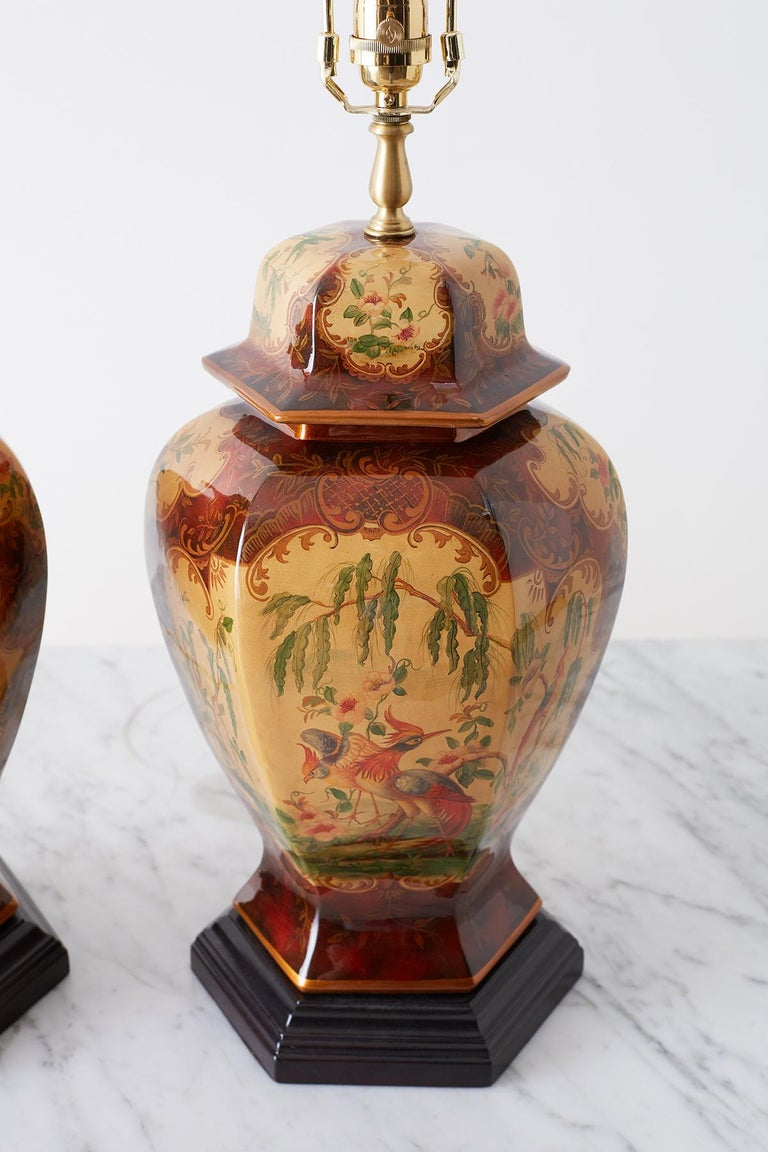 Hand-Crafted Pair of Chinoiserie Glazed Ginger Jar Table Lamps For Sale