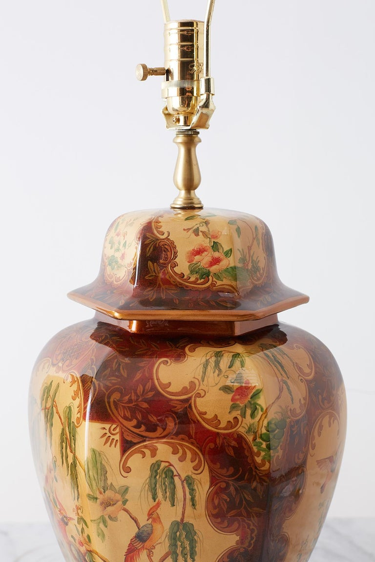 Pair of Chinoiserie Glazed Ginger Jar Table Lamps For Sale 6