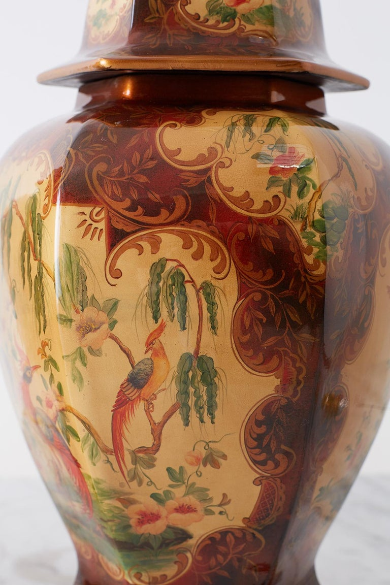 Pair of Chinoiserie Glazed Ginger Jar Table Lamps For Sale 7