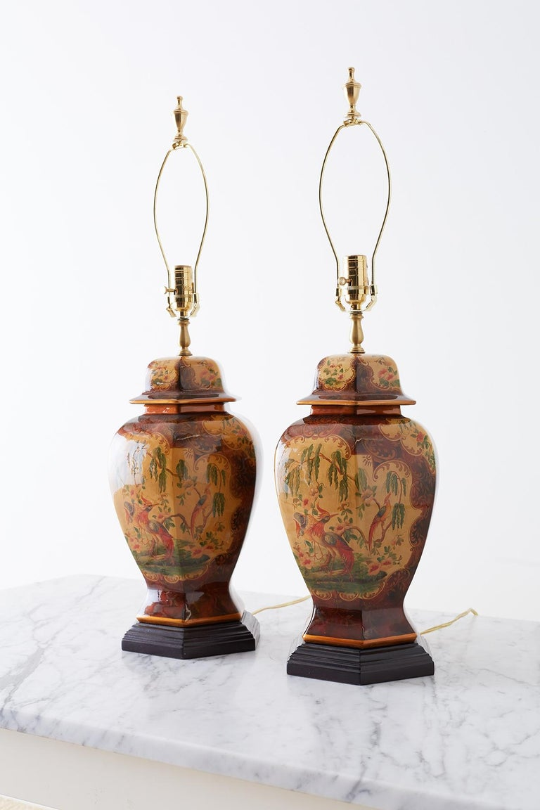 Pair of Chinoiserie Glazed Ginger Jar Table Lamps For Sale 8