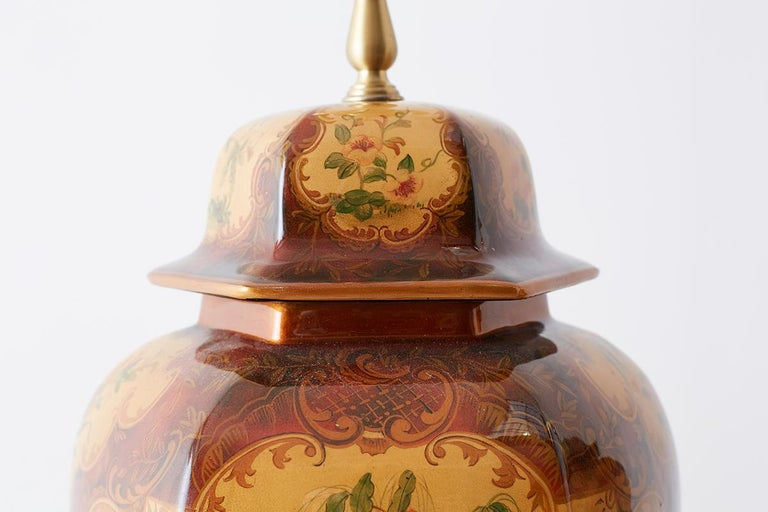 Pair of Chinoiserie Glazed Ginger Jar Table Lamps For Sale 10