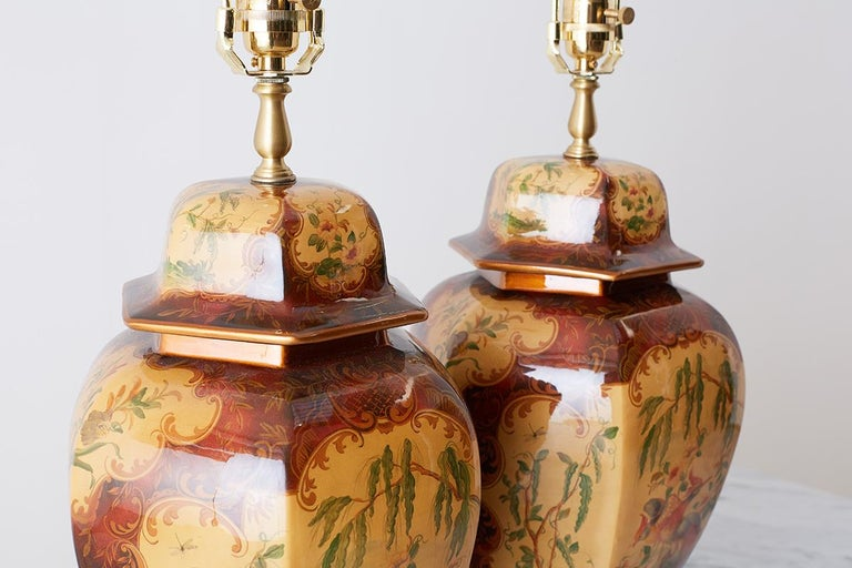 Pair of Chinoiserie Glazed Ginger Jar Table Lamps For Sale 11