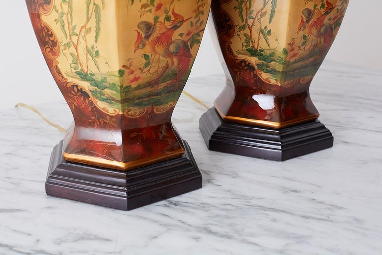 Pair of Chinoiserie Glazed Ginger Jar Table Lamps For Sale 12