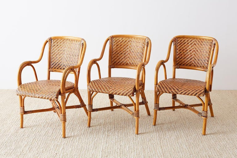 Woven French Bistro Style Rattan Dining Chairs In Good Condition For Sale In Oakland, CA