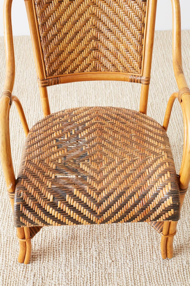 20th Century Woven French Bistro Style Rattan Dining Chairs For Sale