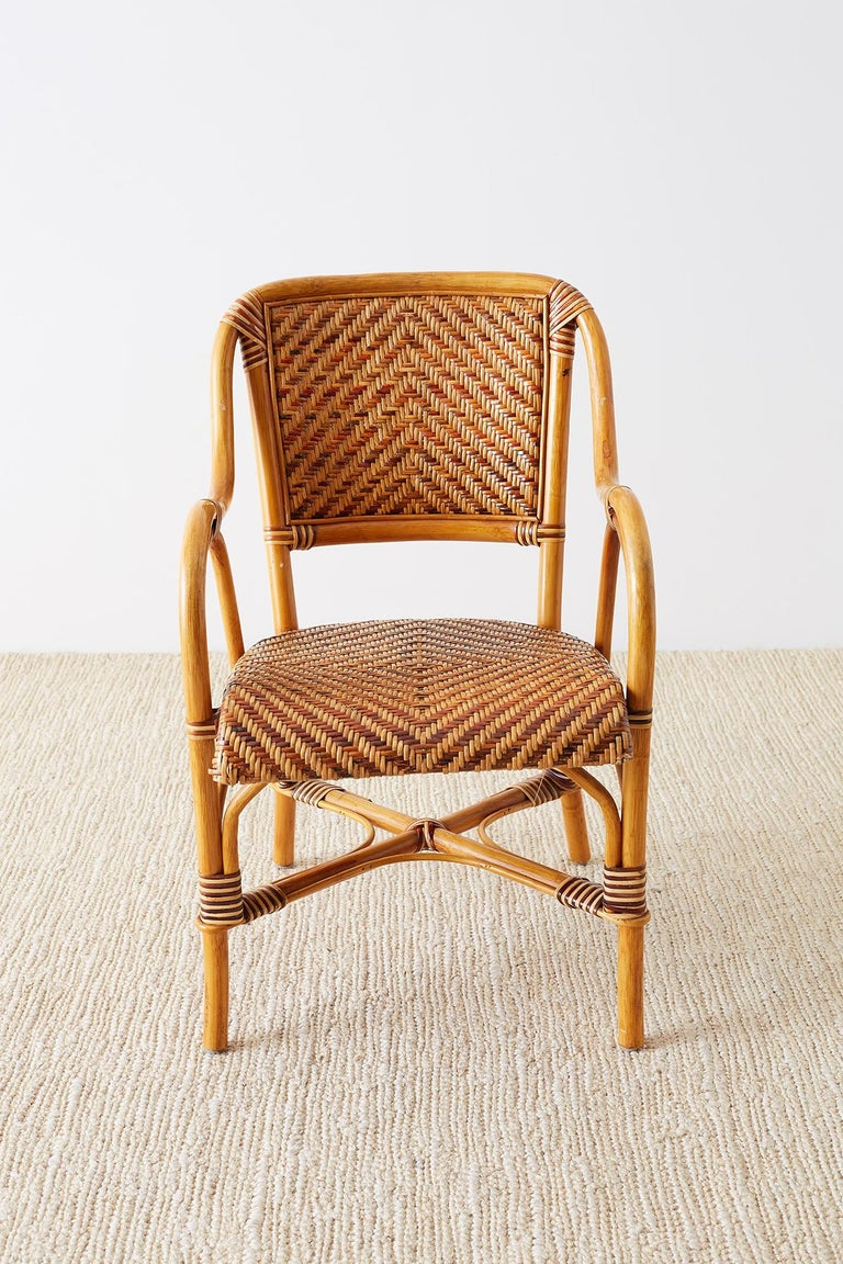 Wicker Woven French Bistro Style Rattan Dining Chairs For Sale