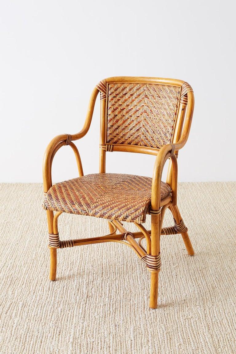 Woven French Bistro Style Rattan Dining Chairs For Sale 1