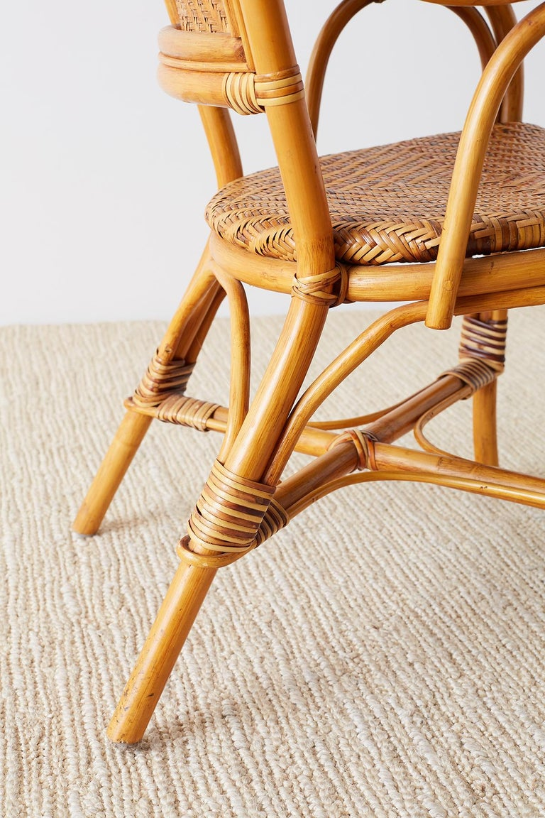 Woven French Bistro Style Rattan Dining Chairs For Sale 4
