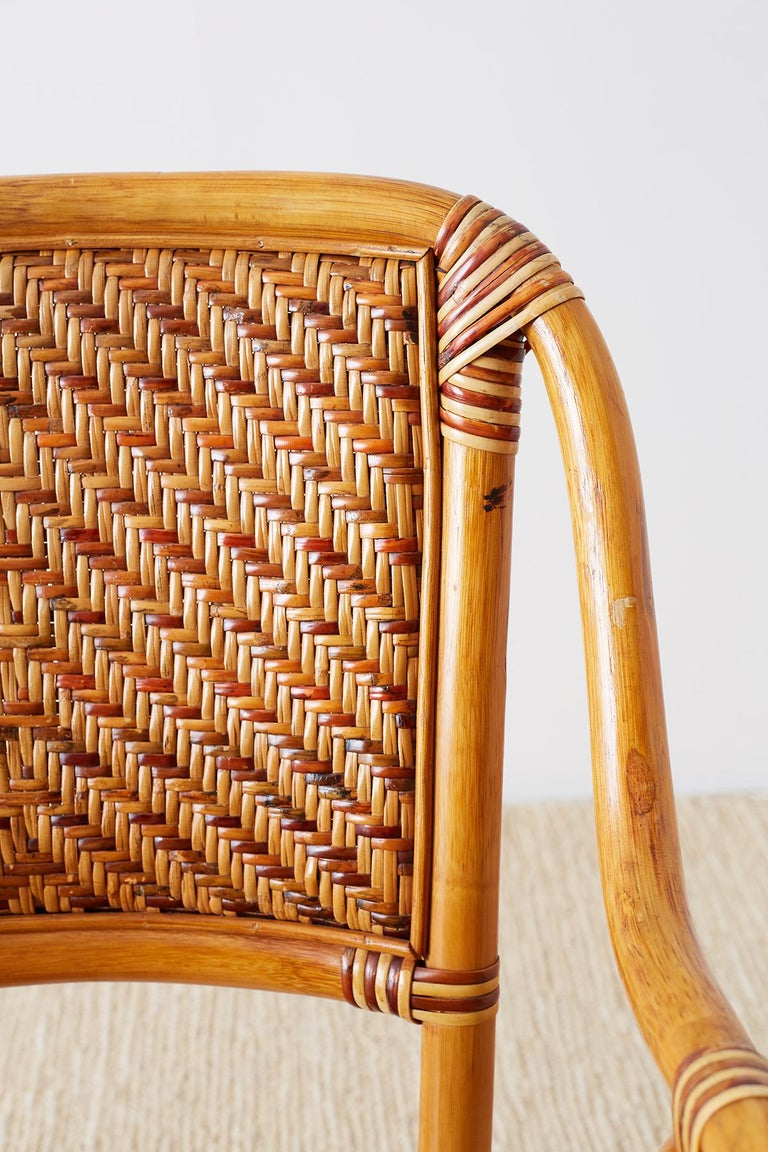 Woven French Bistro Style Rattan Dining Chairs For Sale 6