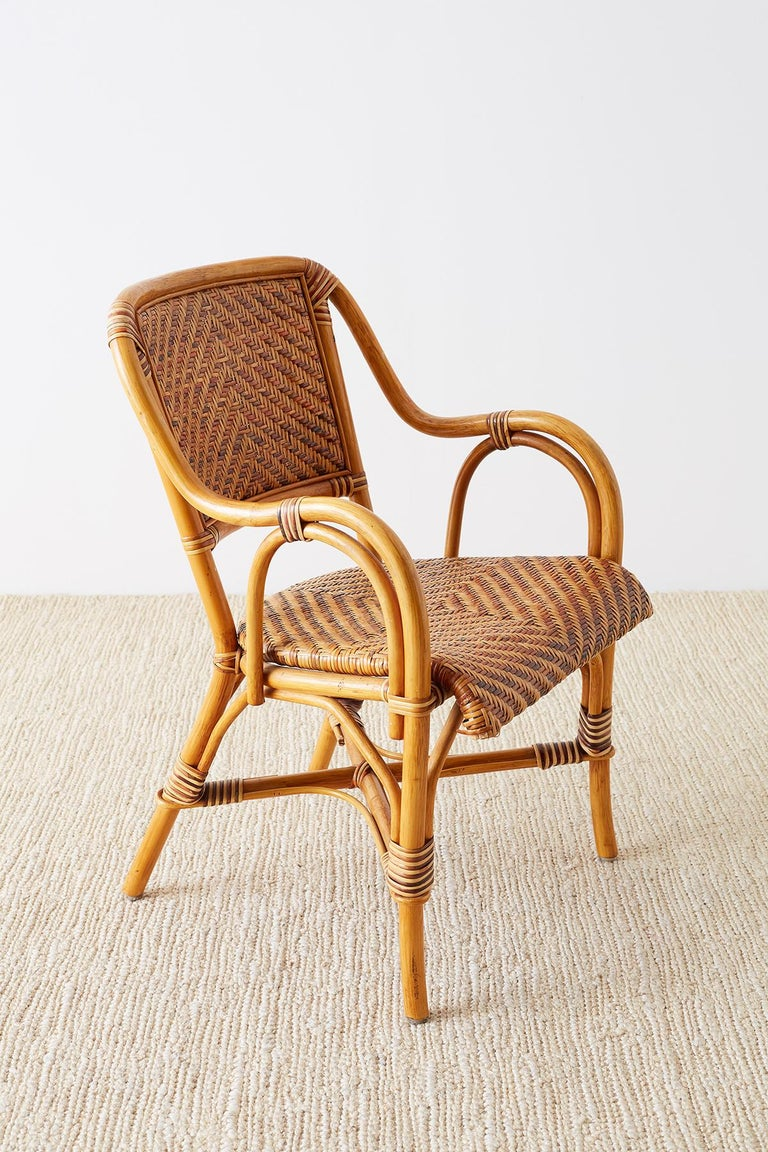 Woven French Bistro Style Rattan Dining Chairs For Sale 7