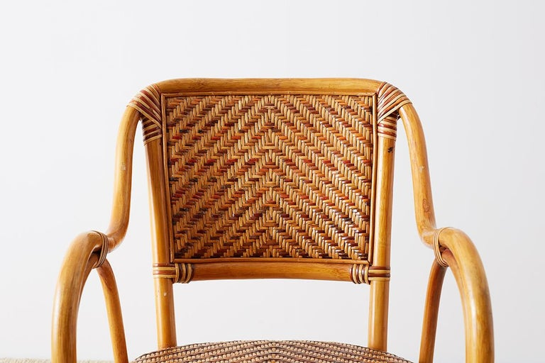 Woven French Bistro Style Rattan Dining Chairs For Sale 8