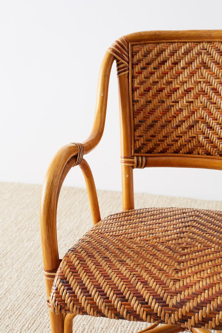Woven French Bistro Style Rattan Dining Chairs For Sale 9