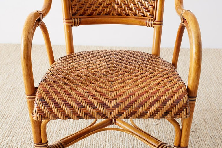 Woven French Bistro Style Rattan Dining Chairs For Sale 10