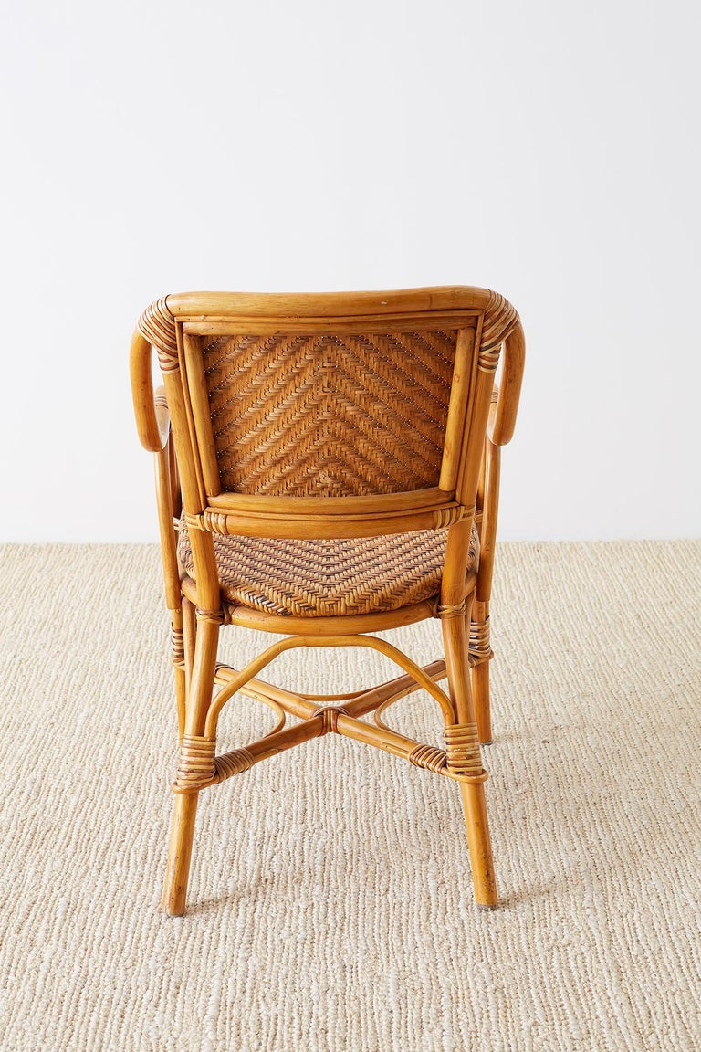 Woven French Bistro Style Rattan Dining Chairs For Sale 12