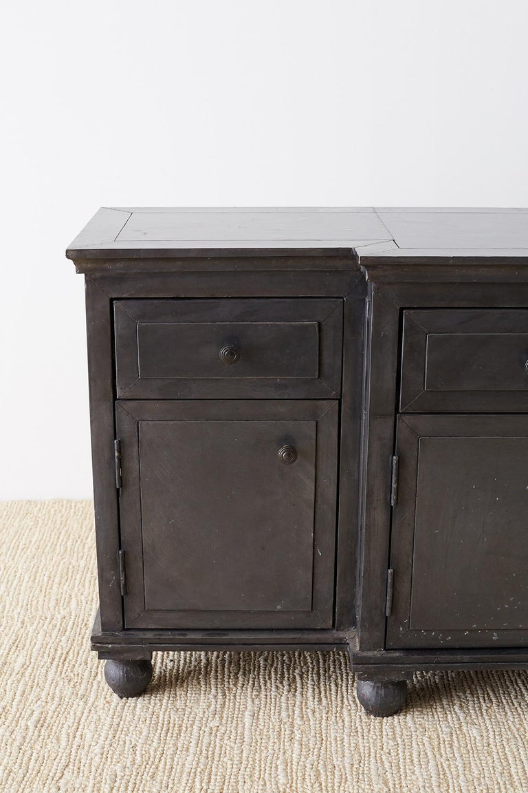 Indian Zinc Metal Wrapped Sideboard Credenza or Buffet For Sale