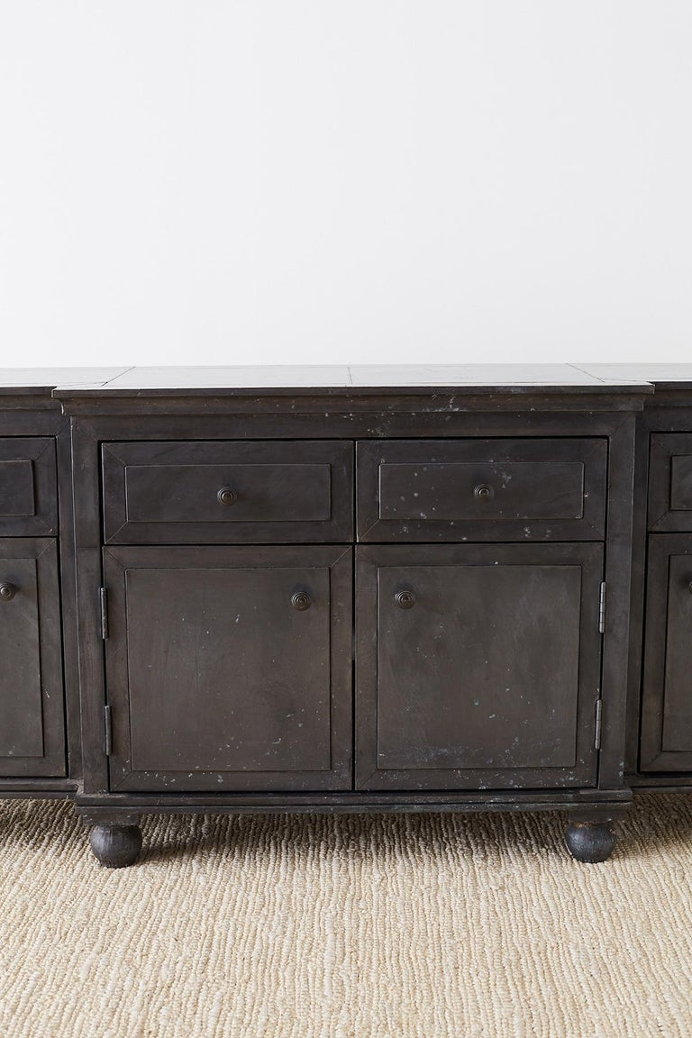 20th Century Zinc Metal Wrapped Sideboard Credenza or Buffet For Sale