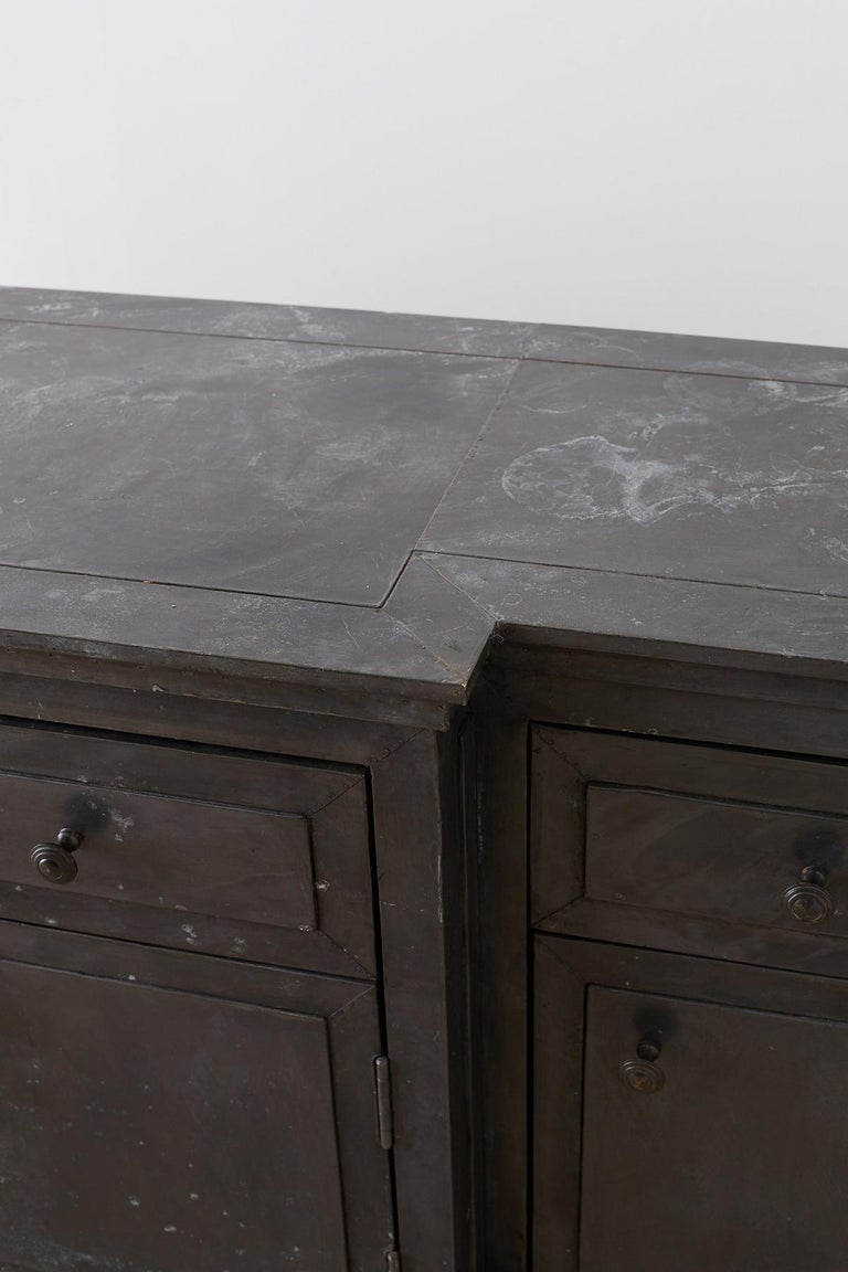 Zinc Metal Wrapped Sideboard Credenza or Buffet For Sale 1