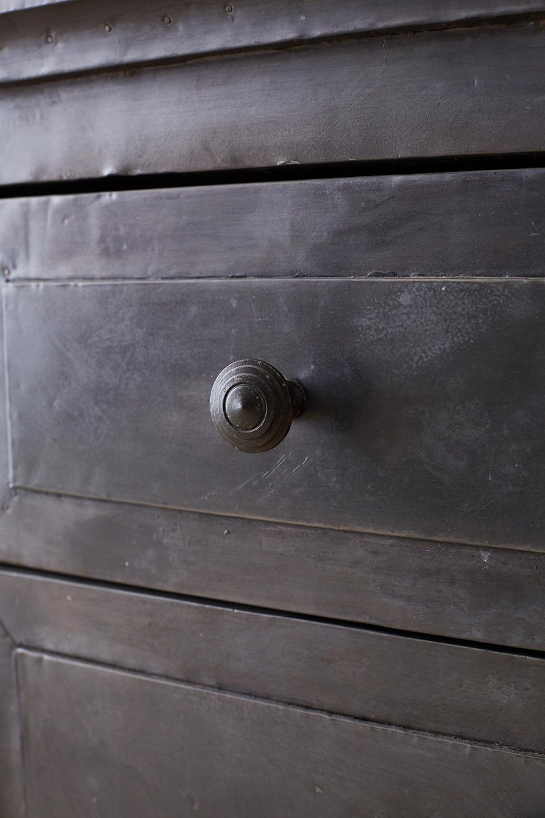 Zinc Metal Wrapped Sideboard Credenza or Buffet For Sale 8