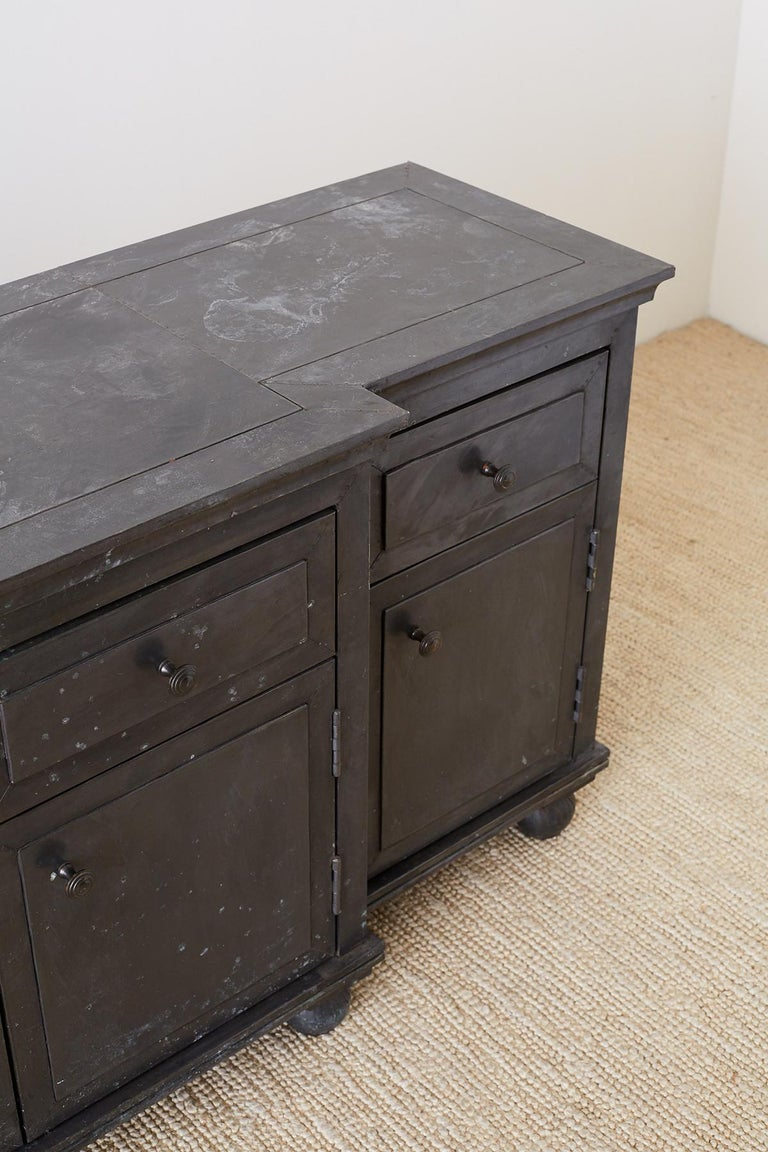 Zinc Metal Wrapped Sideboard Credenza or Buffet For Sale 11