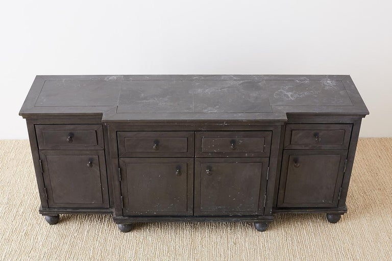 Zinc Metal Wrapped Sideboard Credenza or Buffet For Sale 12