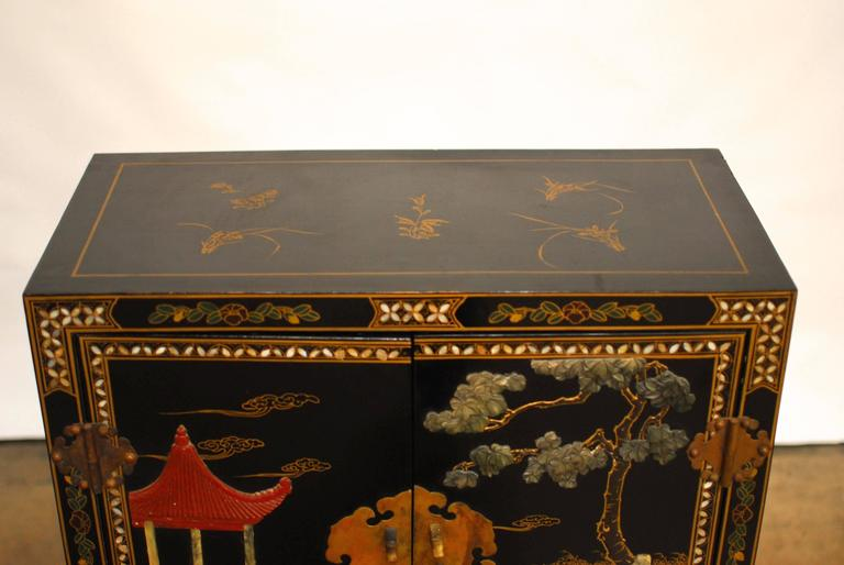 Chinese black lacquer hardstone scholars cabinet for sale for Chinese black lacquer furniture