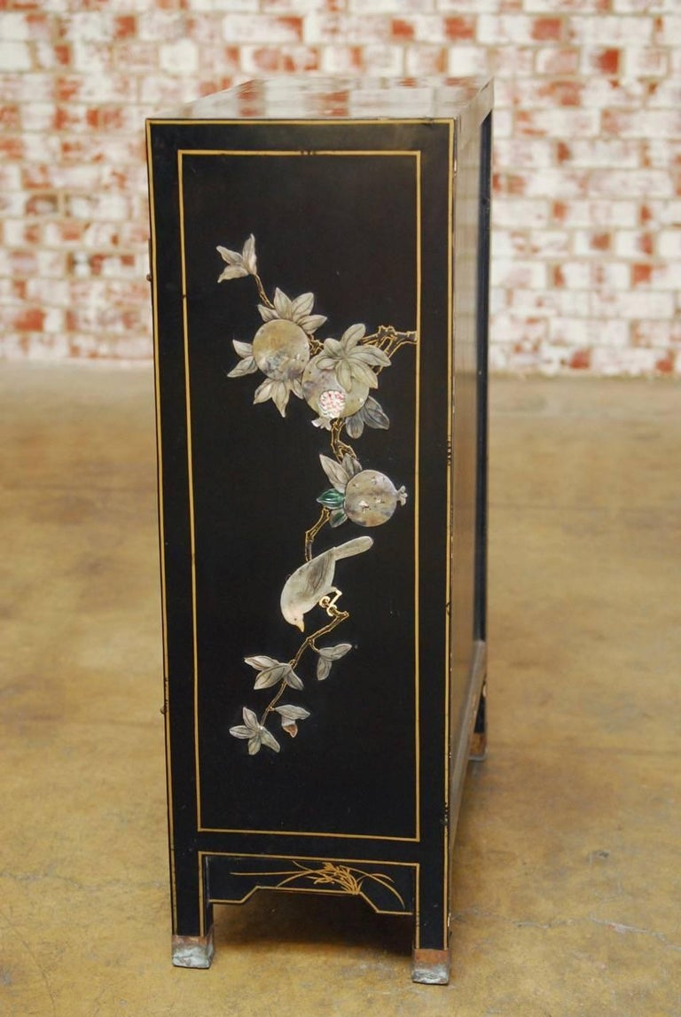 Chinese Black Lacquer Soapstone Scholars Cabinet At 1stdibs
