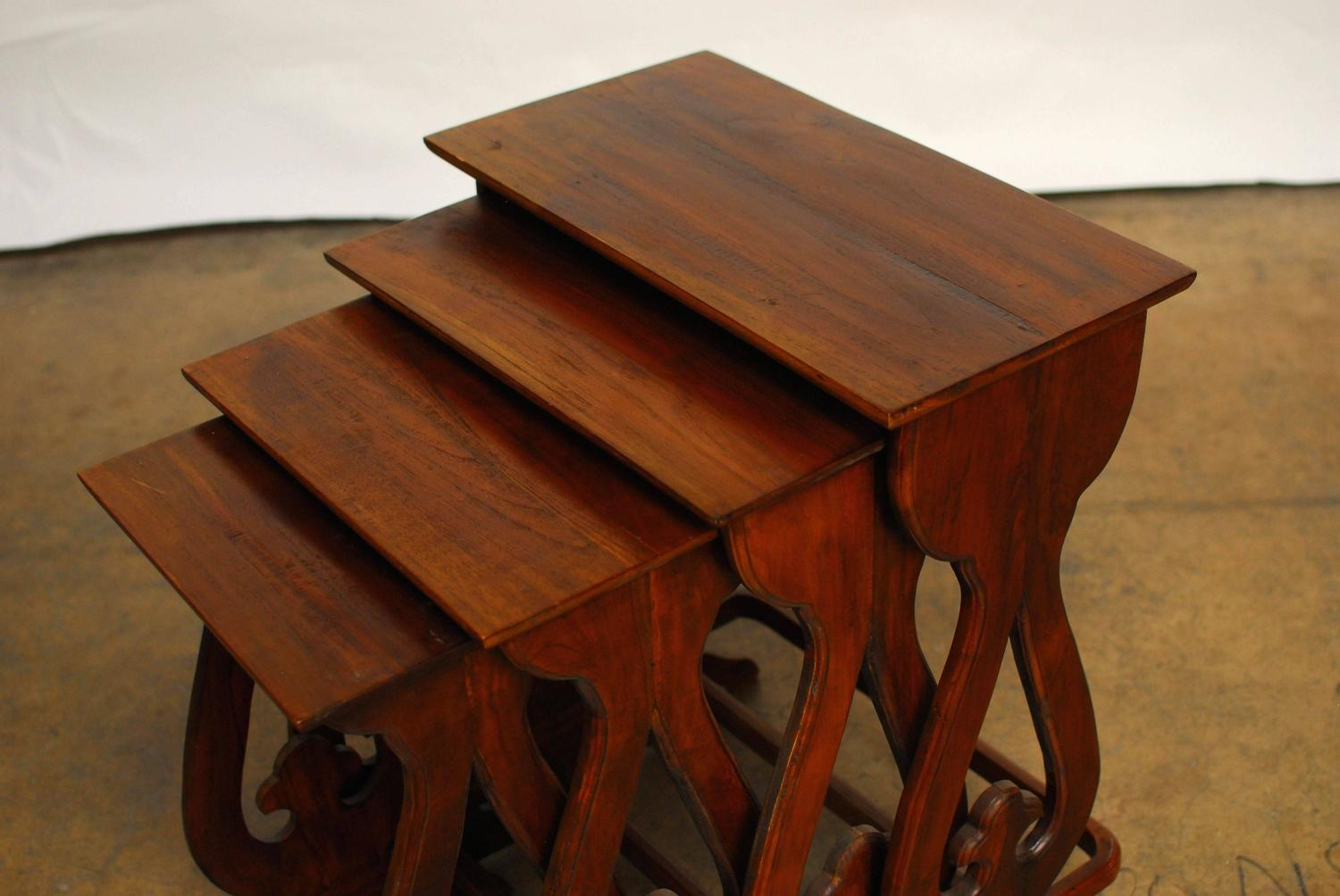 Set of carved chinese nesting tables for sale at stdibs