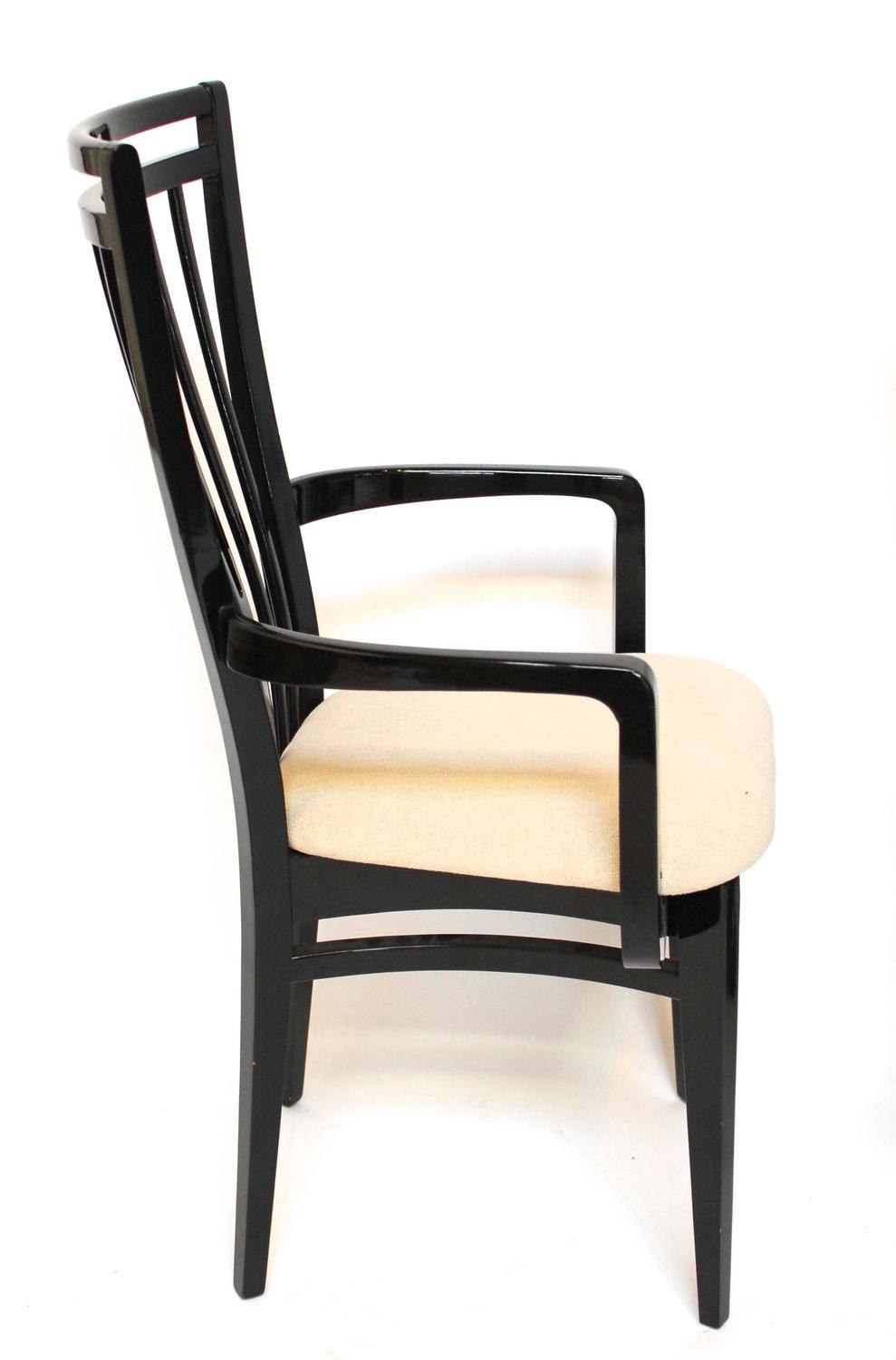 italian black lacquer dining chairs for sale at 1stdibs. Black Bedroom Furniture Sets. Home Design Ideas