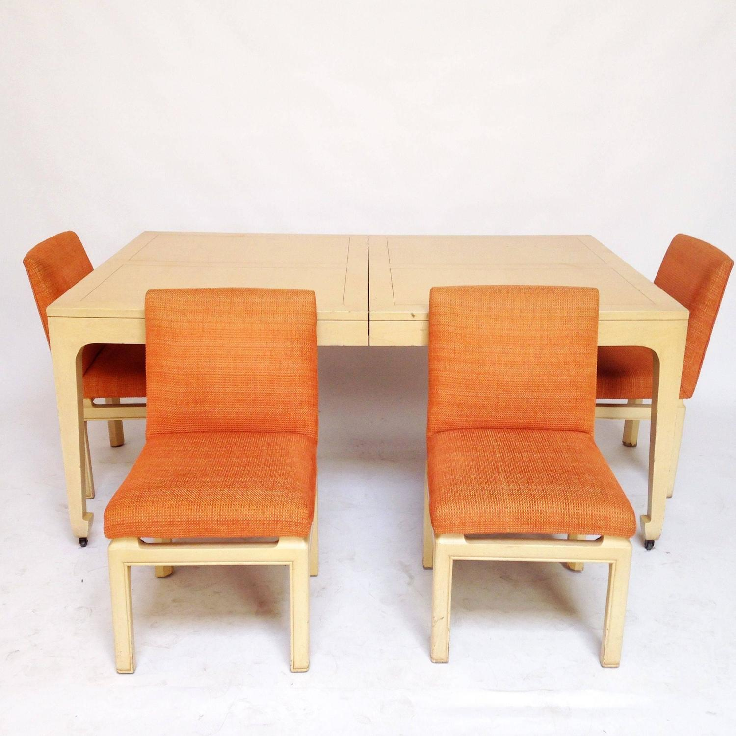 mid century modern baker far east collection dining table and 4 chairs
