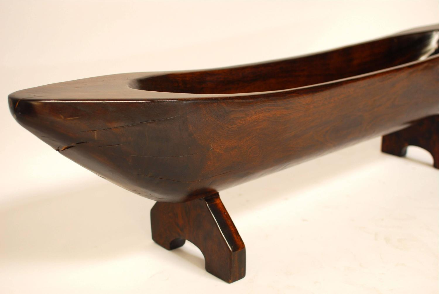Carved wood trough display centerpiece at stdibs