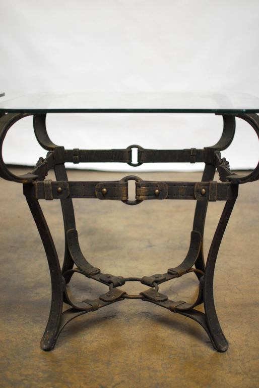 Jacques Adnet Style Cast Iron Leather Strap Tables For