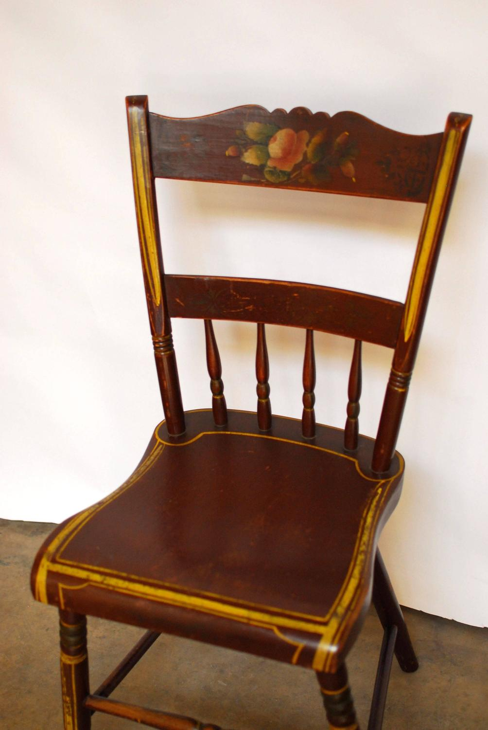 Pennsylvania Painted Hitchcock Chairs-Set of Six For Sale at 1stdibs