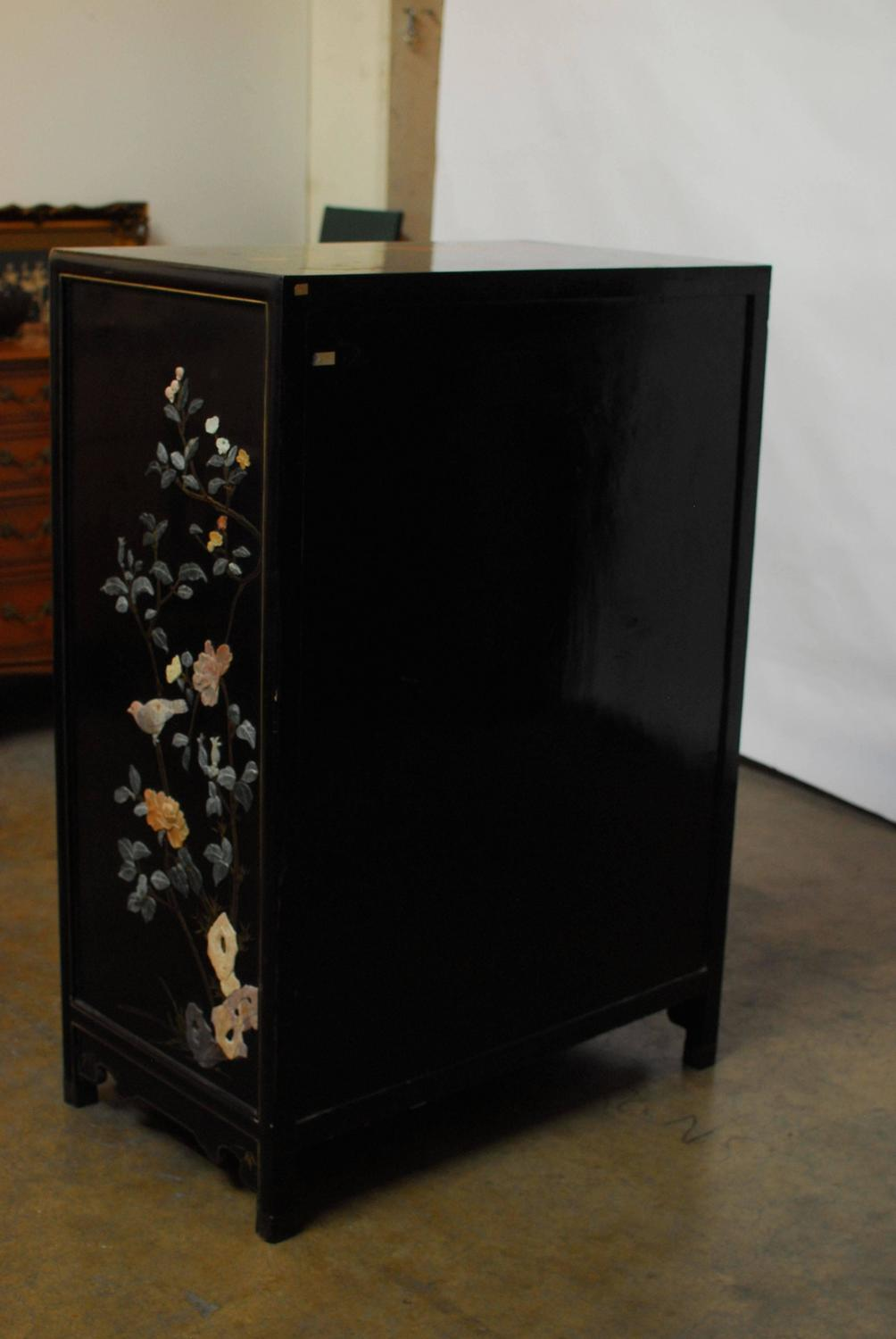 Chinese black lacquer hard stone cabinet at 1stdibs for Chinese black lacquer furniture