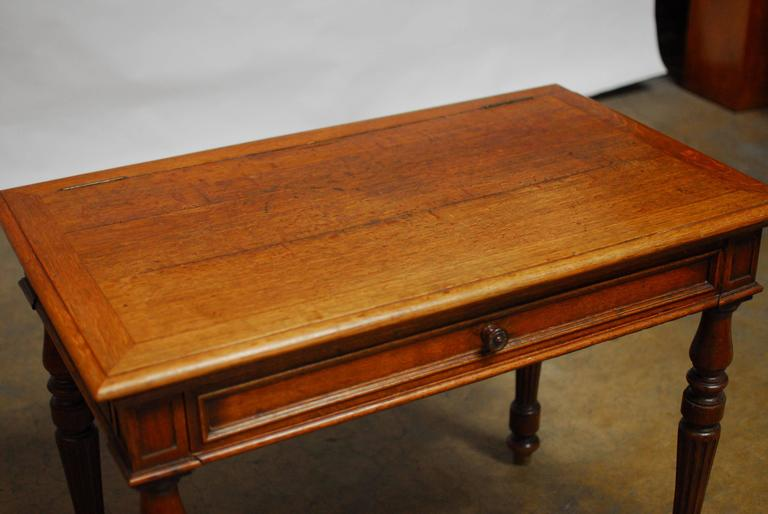 Brass 19th Century English Desk with Folding Privacy Walls For Sale