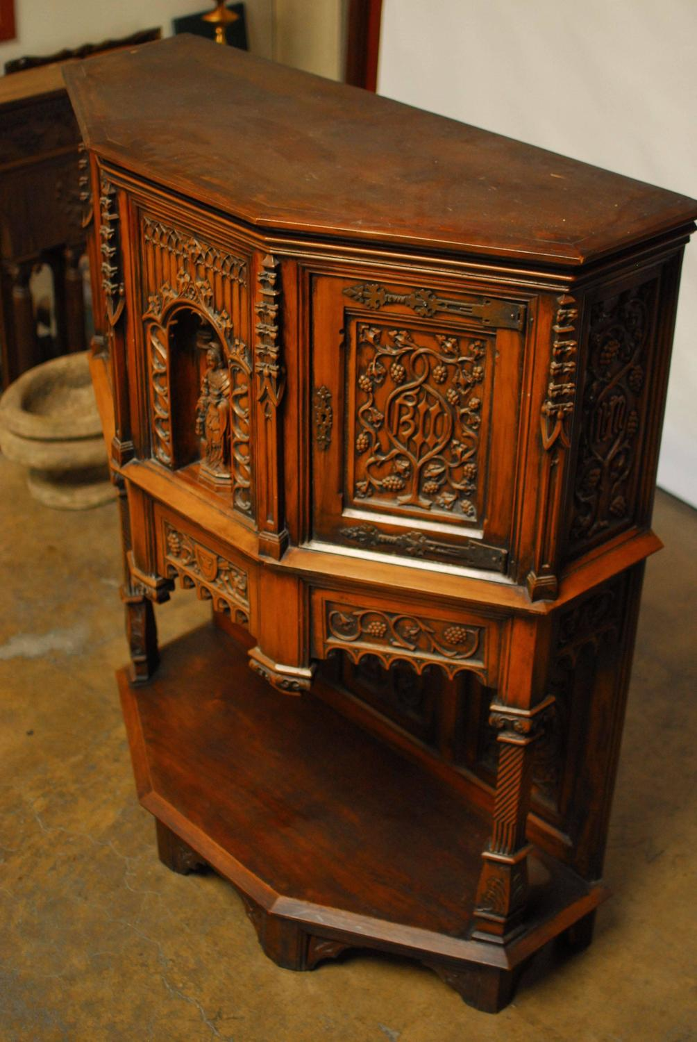 19th Century Belgian Grand Gothic Dressoir Cabinet At 1stdibs