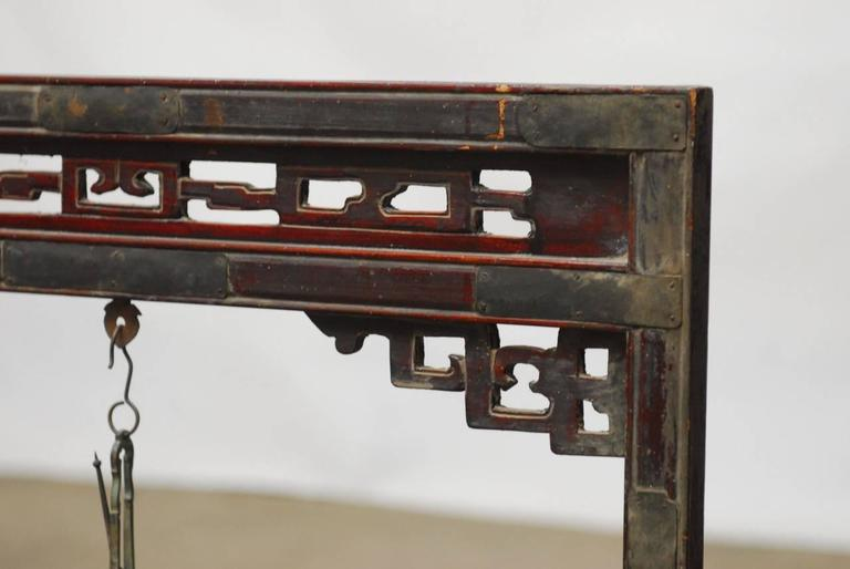 19th Century Chinese Apothecary Balance Scale Stand In Fair Condition For Sale In Oakland, CA