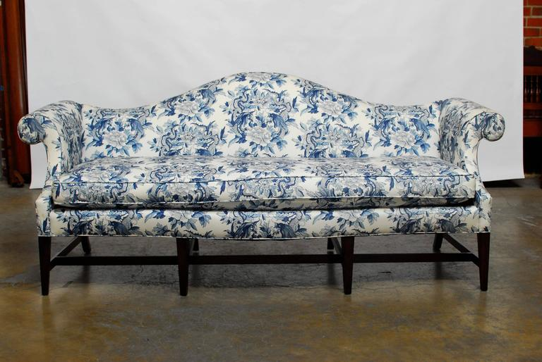 Dramatic Chippendale Style Sofa With A Camelback Form And Serpentine Bow Front Edge Features