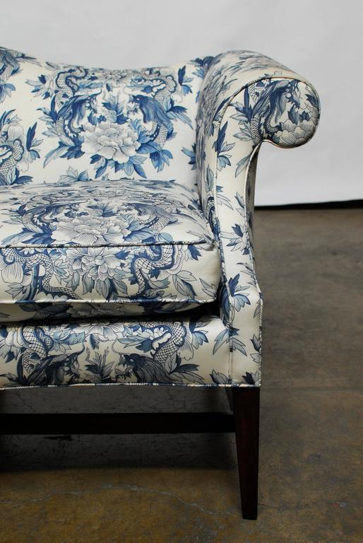 Chippendale Style Camelback Sofa With Chinoiserie Dragon