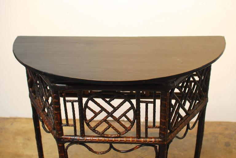 Chinese Bamboo Demilune Table At 1stdibs