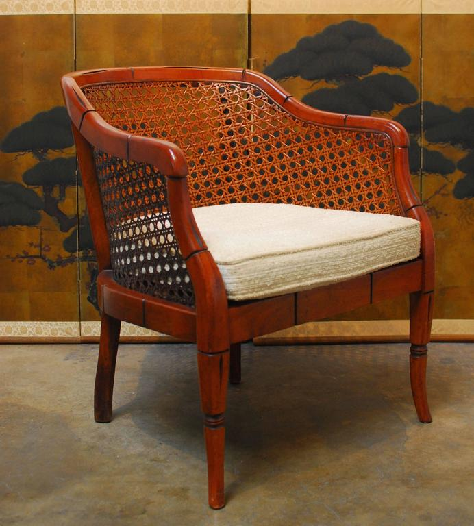 Mid Century Modern Midcentury Bamboo Cane Barrel Chair For Sale