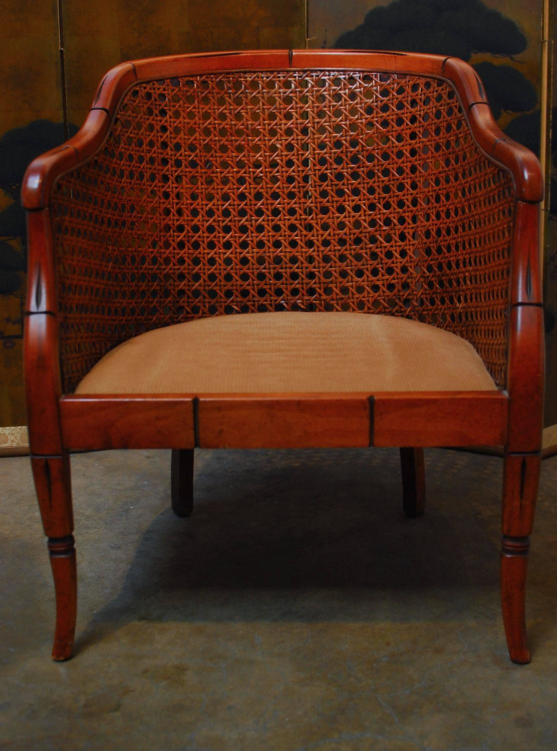 Midcentury Bamboo Cane Barrel Chair For Sale At 1stdibs