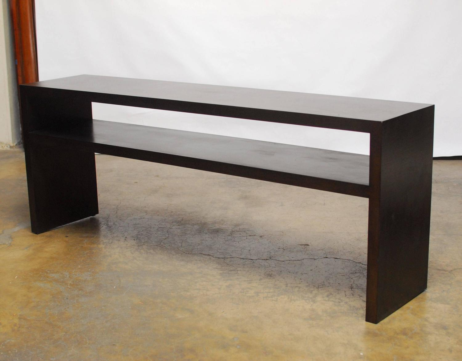 Grasscloth Parson S Style Textured Console Table At 1stdibs