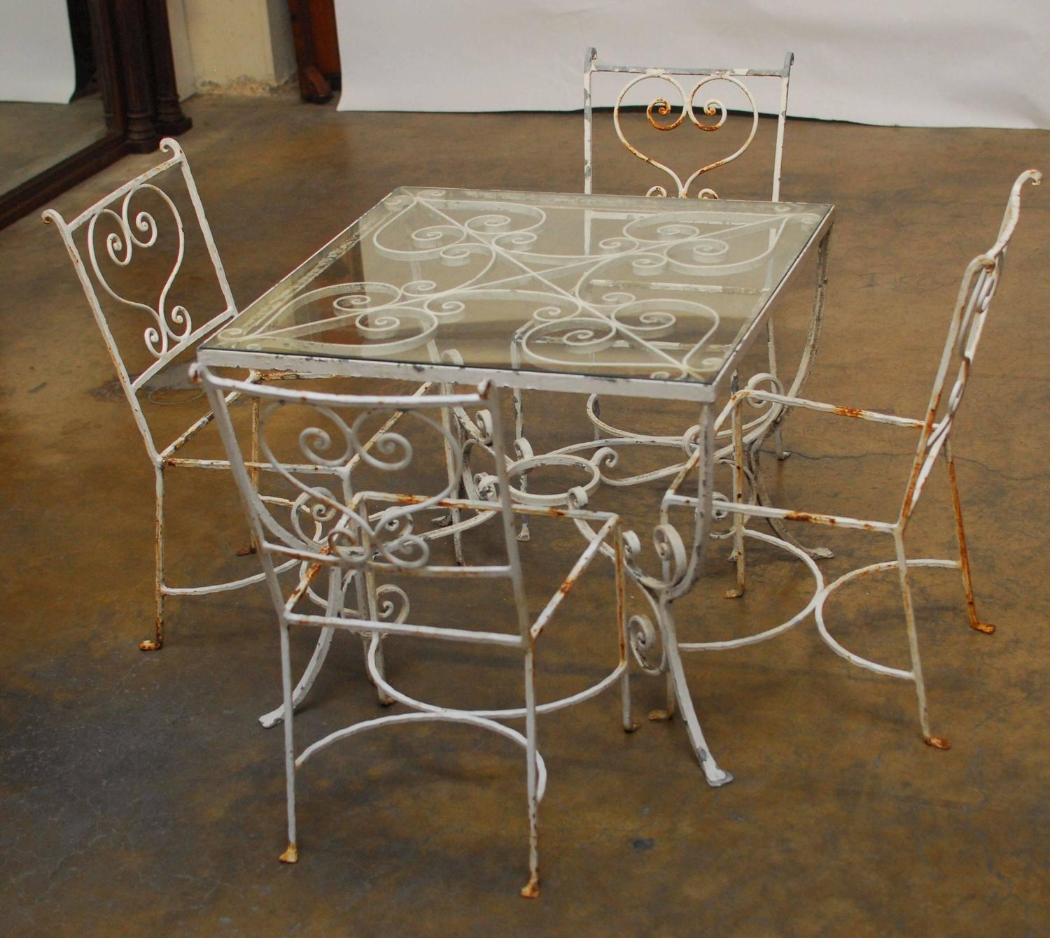 French wrought iron patio set for sale at 1stdibs for Tall patio chairs sale