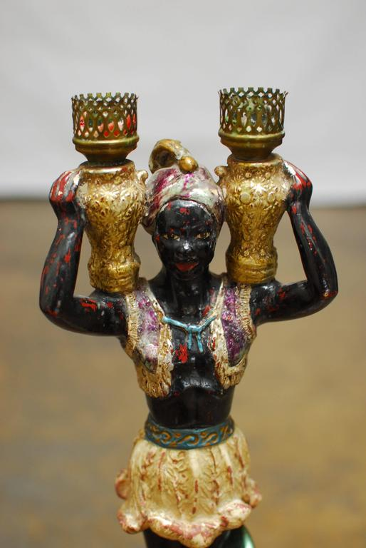 Polychrome Venetian Blackamoor Candleholder 2
