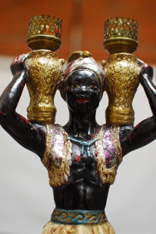 Polychrome Venetian Blackamoor Candleholder 4