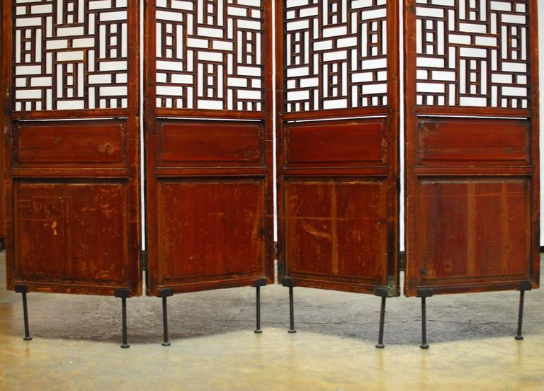 Elm 19th Century Chinese Lattice Panel Screen For Sale