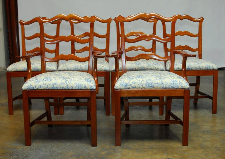 chippendale ladder back toile dining chairs for sale at 1stdibs