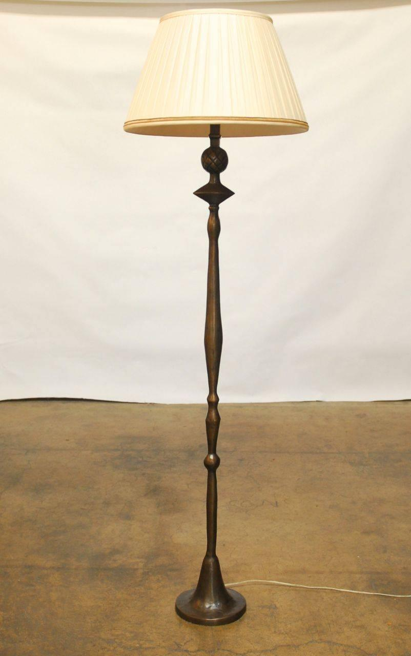 Giacometti Style Solid Bronze Pomme De Pin Floor Lamp For