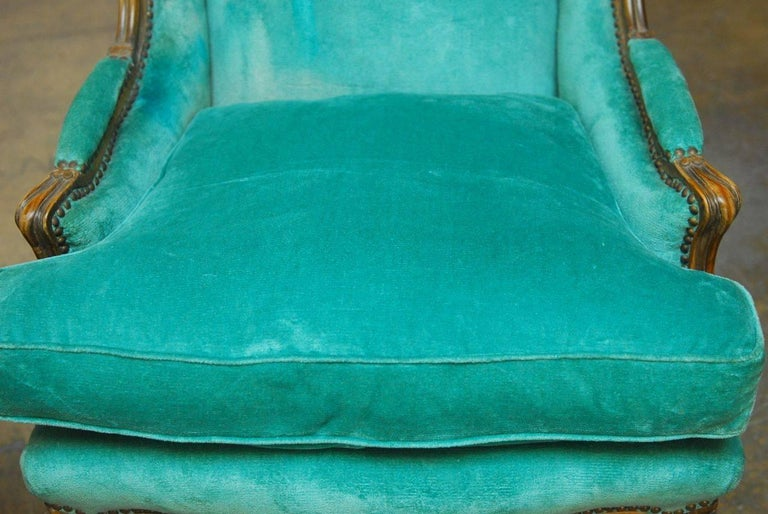 French Pair of Louis XV Style Turquoise Velvet Wingback Bergères For Sale